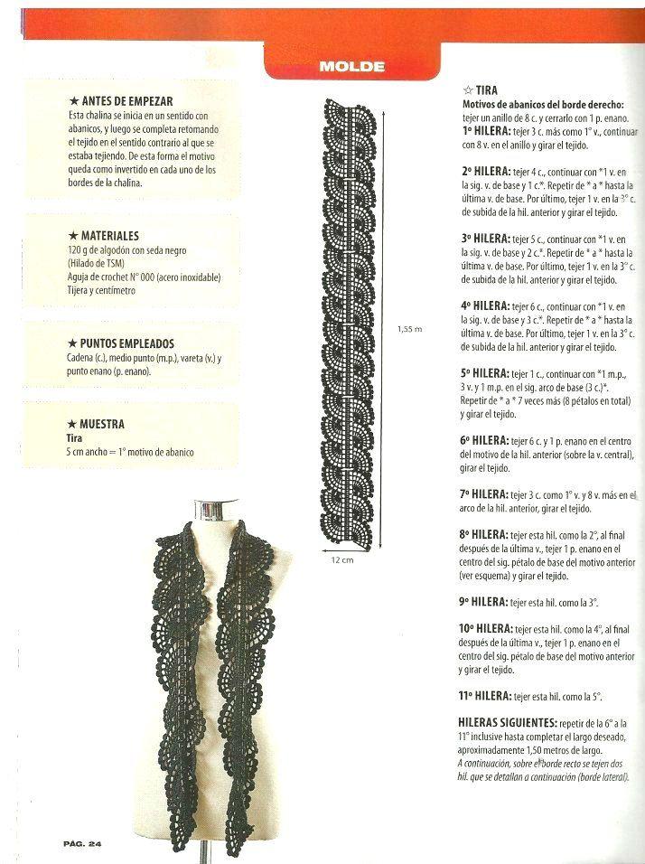 Como hacer una chalina a crochet con detalles ondas - Patrones ...