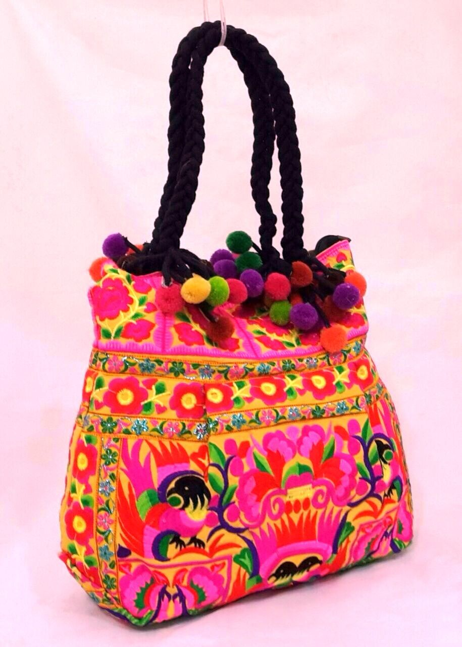 Shoulder Bag from Kutch with Embroidery in Multi-Thread and Mirrors - Pure Cotton Exotic India C62P1JRH