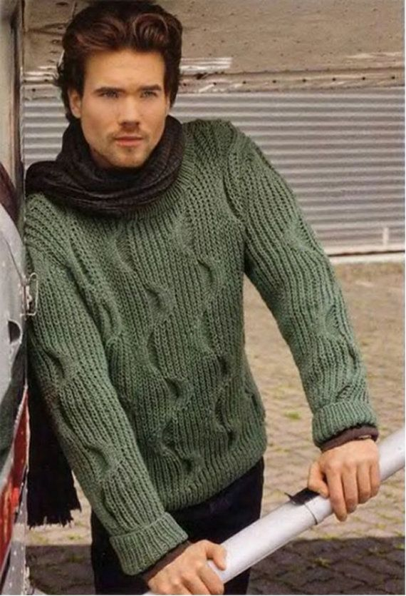 Men's Crewneck Sweater v-neck men turtleneck hand knitted sweater cardigan pullover men clothing handmade men knitting cabled
