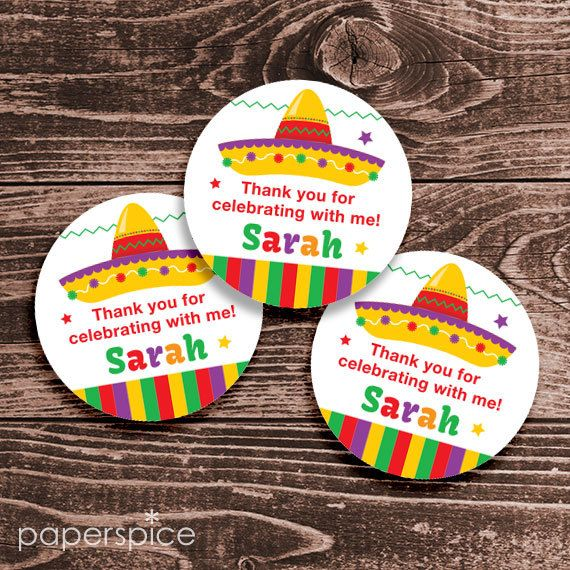 Personalized Fiesta Party Favor Tags or Stickers  2 by paperspice