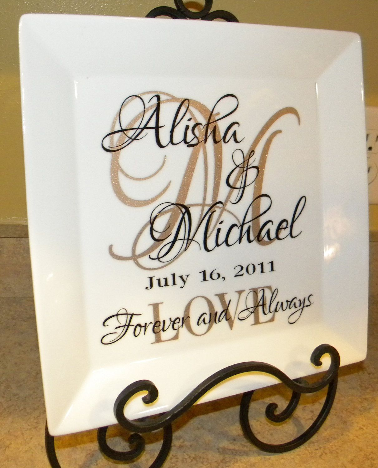 Personalized Wedding Gift S Names And Initial On 10 1 2 Square White Plate Do It Yourself