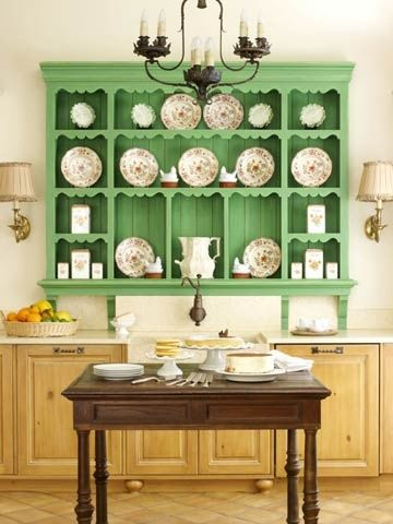 How To Decorate With Green Pea Paint On A Hutch Makes Delicate China Pattern Look Extra Special