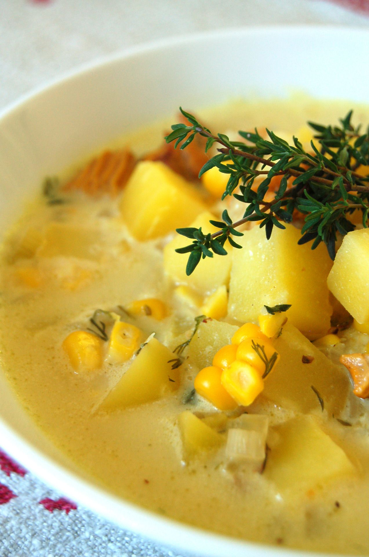 CHANTERELLE CHOWDER WITH CORN