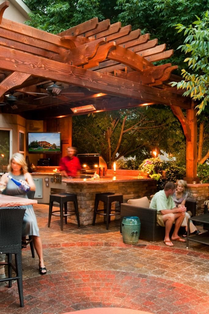 Curved Shade Structure Over Outdoor Kitchen Shade