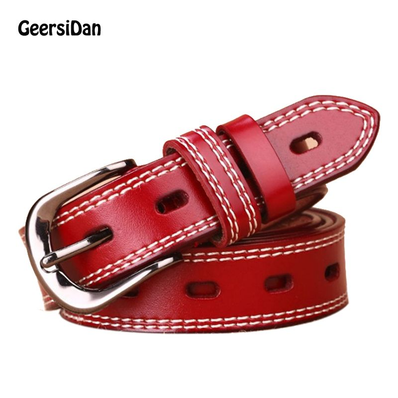 GEERSIDAN New vintage high quality genuine leather women belt fashion pin jeans buckle belt for women cinturon mujer