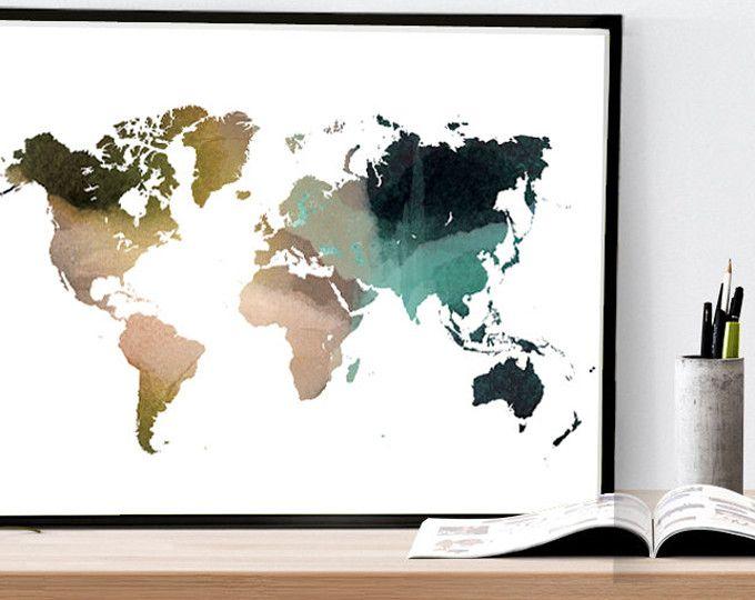Explora artculos nicos de whitedoeprints en etsy un mercado world map watercolor wall art map poster map art by whitedoeprints gumiabroncs Gallery
