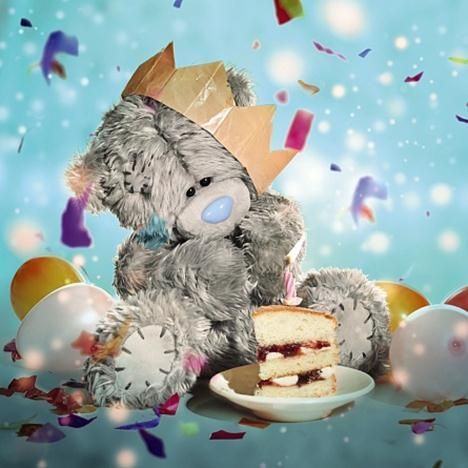 ME TO YOU WITH CAKES 3D HOLOGRAM BIRTHDAY CARD TATTY TEDDY BEAR
