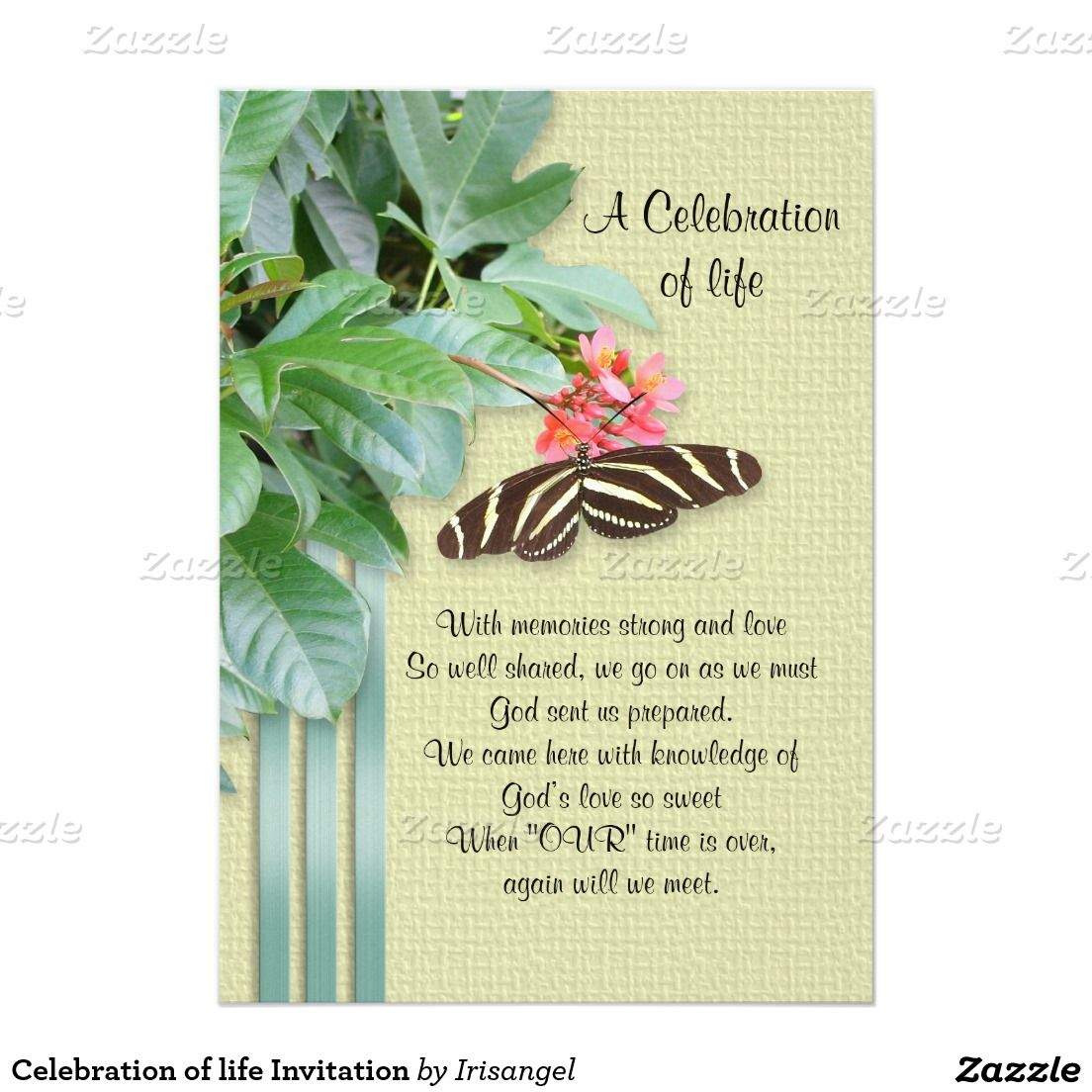 Celebration of life invitation 5 x 7 invitation card celebration of life invitation 5 x 7 invitation card stopboris Choice Image