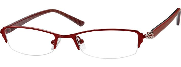 1cfdc109ed86f Women s Red 7377 Stainless Steel Half-Rim Frame with Acetate Temples