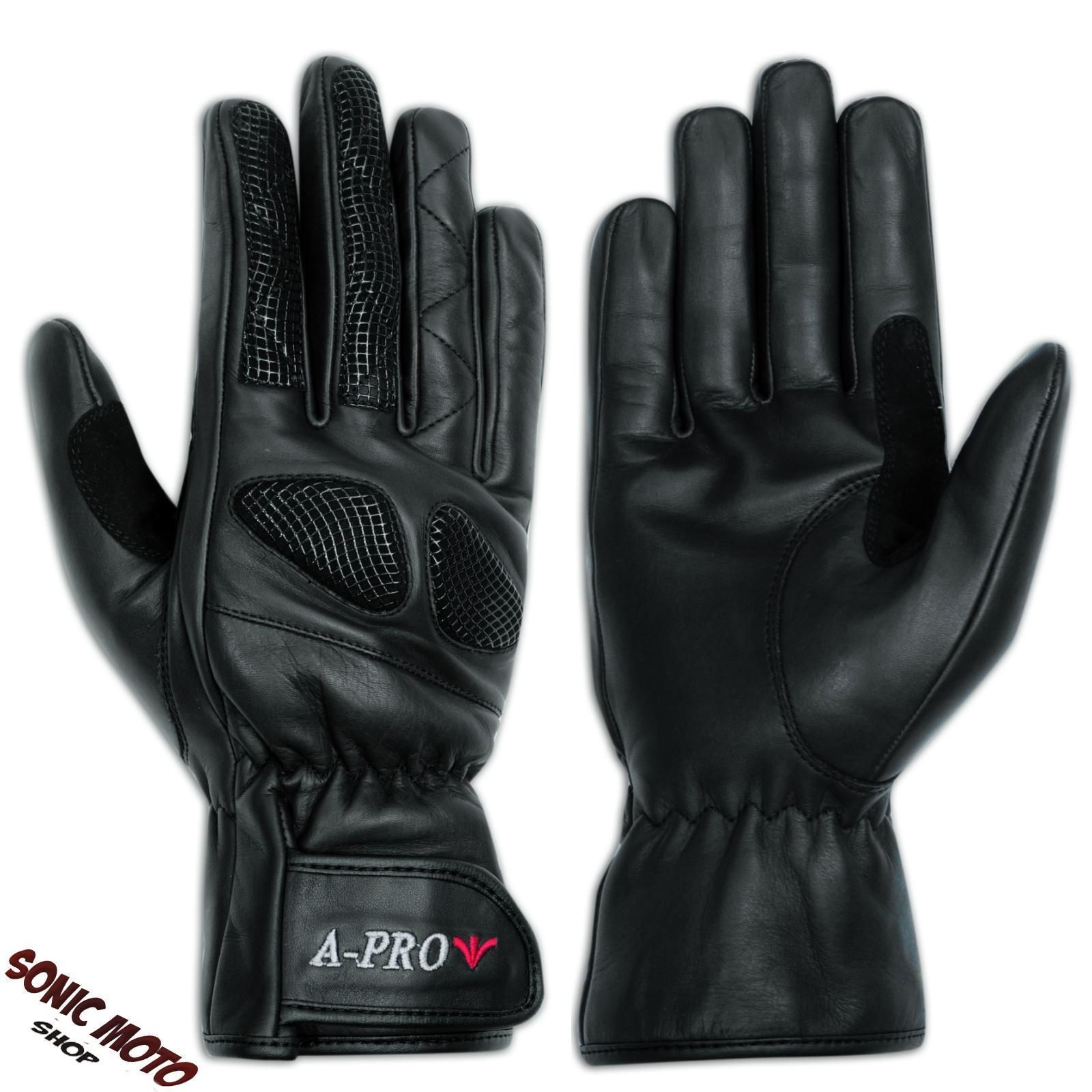Motorcycle gloves cruiser - Leather Gloves Motorcycle Apparel All Season Scooter Cruiser Cowhide Black