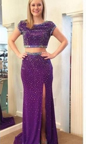26621776473 Stunning Two Piece Beadings Front Split Prom Dress 2016 Short Sleeve Sweep  Train
