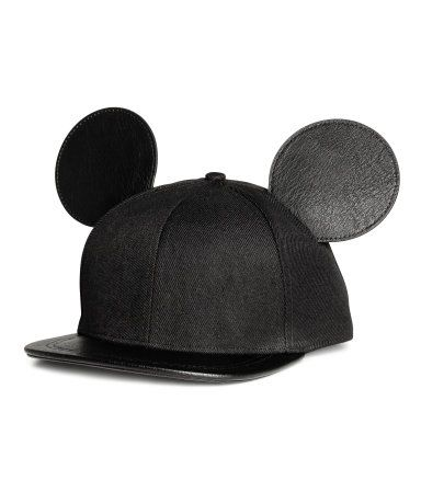 Black Mickey Mouse. Twill cap with a visor and attached ears in imitation  leather. Adjustable plastic fastener at back. Cotton lining. 7aa3de5cea0a