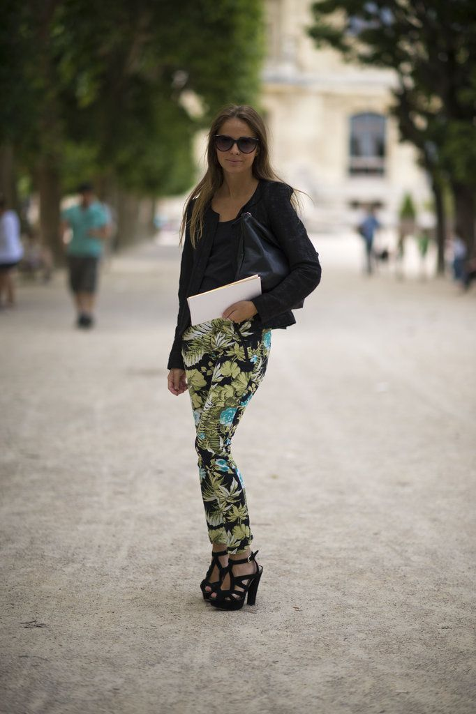 Revamp your casual gear with printed pants, then add in all of your favorite black tees and layers to make the pattern pop even more. Image Source: Le 21ème | Adam Katz Sinding