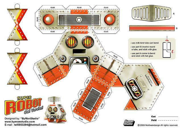super robot owl version paper toys template and owl. Black Bedroom Furniture Sets. Home Design Ideas