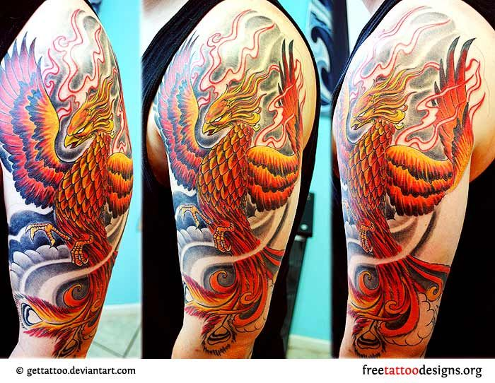 Man with a phoenix tattoo on his shoulder for Phoenix sleeve tattoo ideas