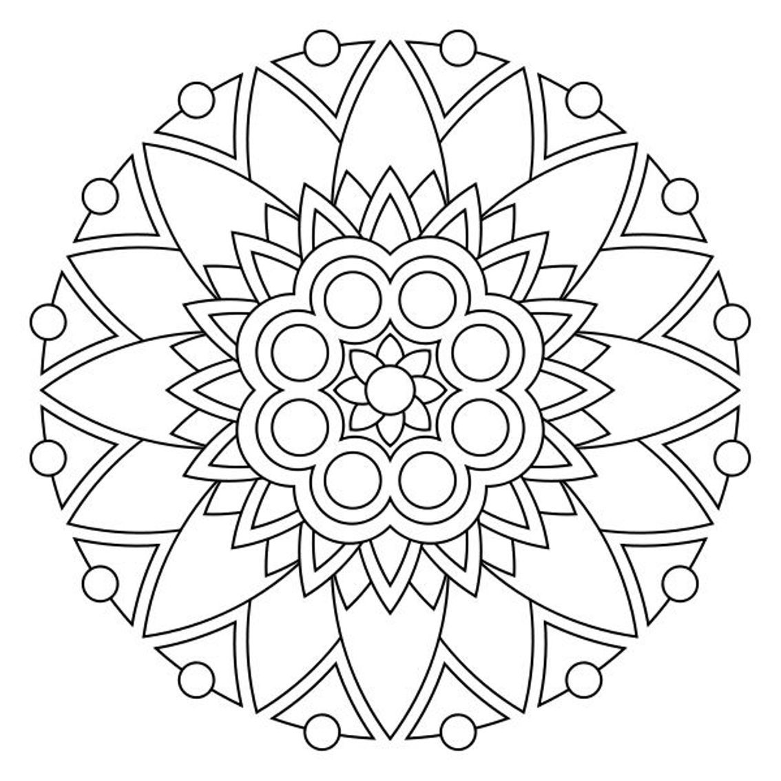 Geometric and abstract this is a modern mandala coloring page for