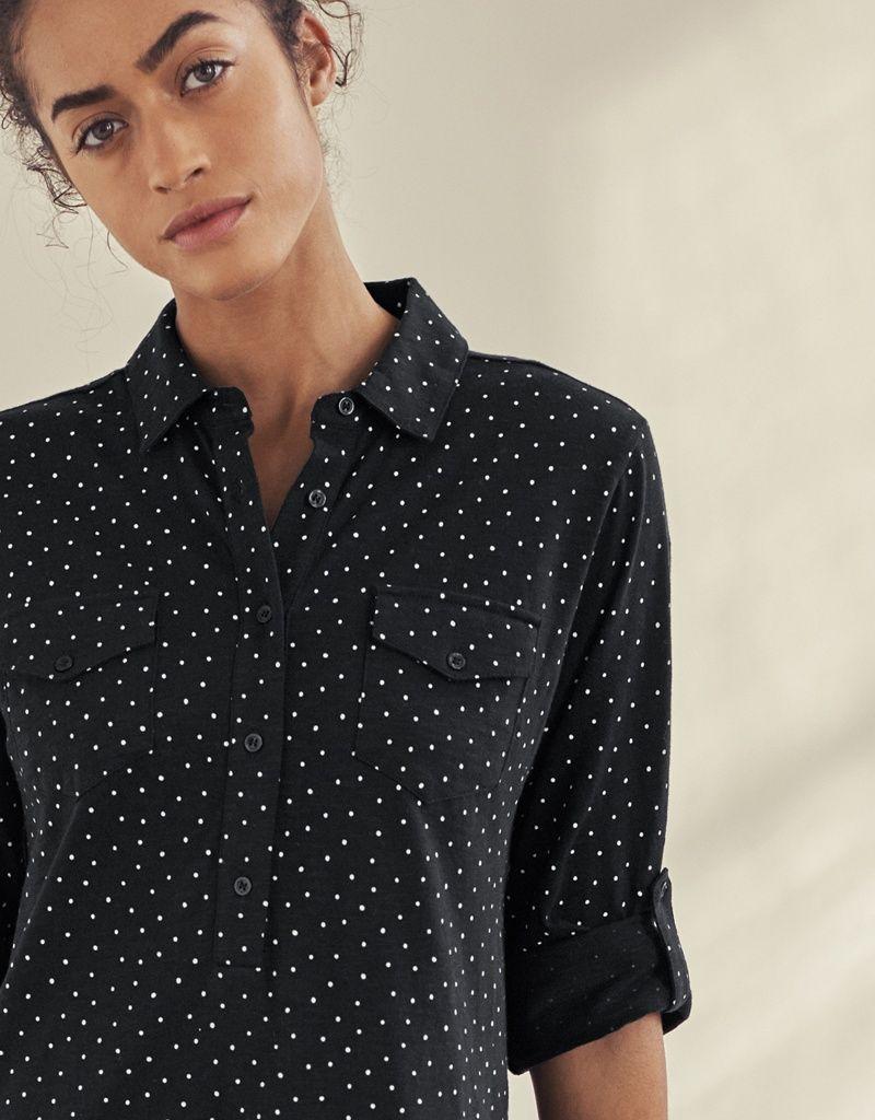 3fca8b2a Cotton Spot Print Shirt Dress in 2019   Spring 2019   Jumpsuit dress ...