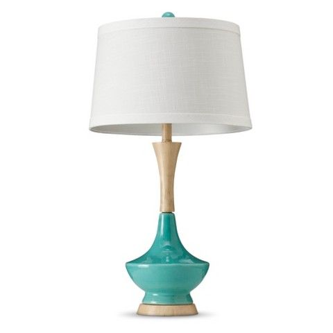 Ceramic Table Lamp With Wood Style Base   Teal (also Comes In