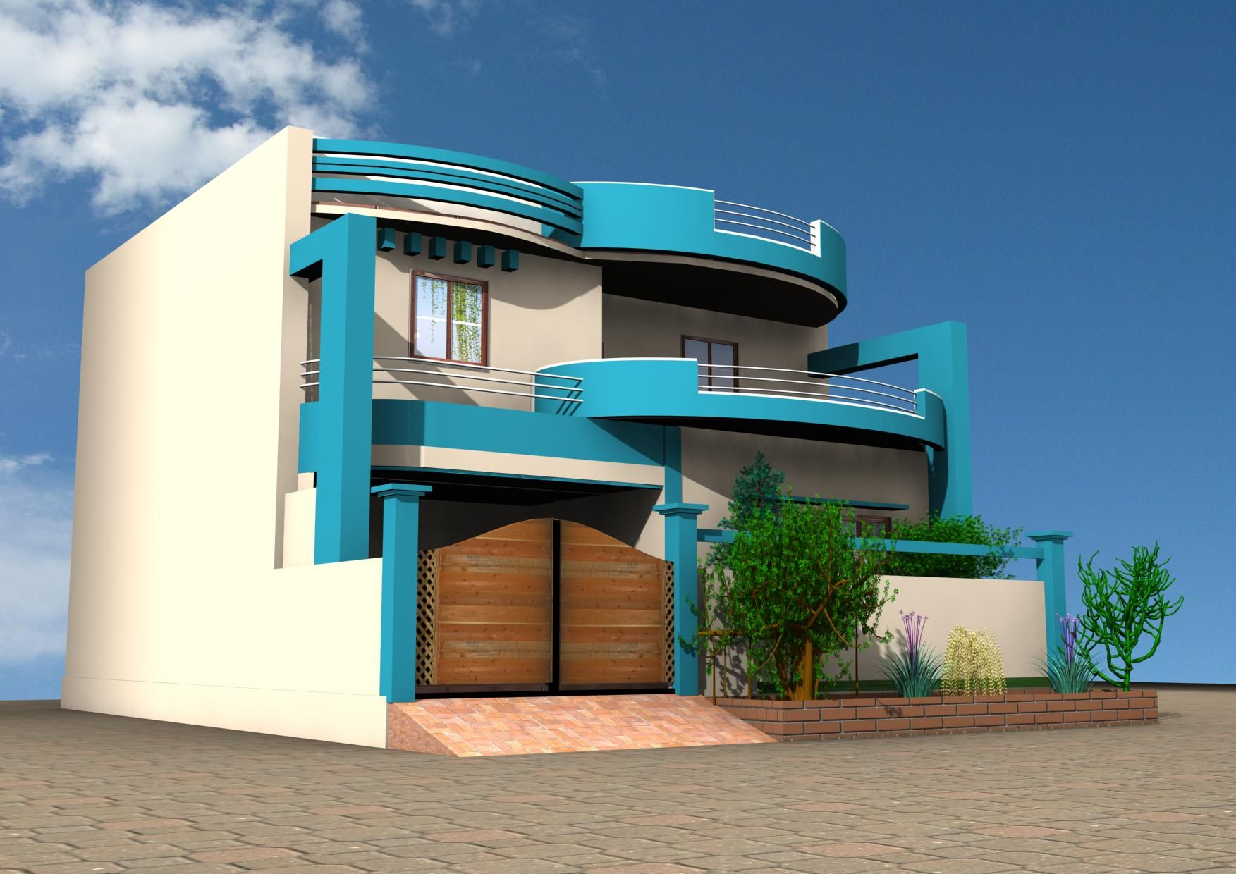 Awesome Exterior Design A House Online Modern Architecture Plans With Blue And Light Brown External Walls With Wooden Doors For Antrances And Curved Canopy