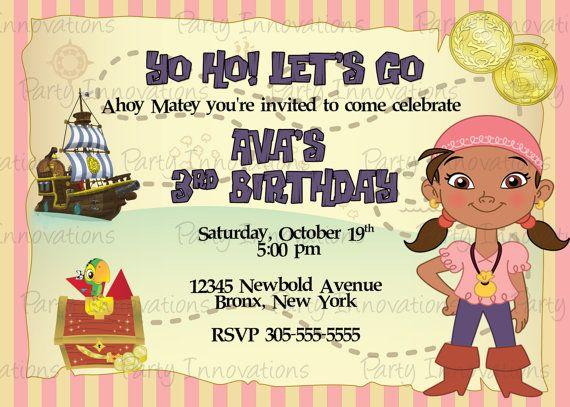 Printable Jake and the neverland Pirates Izzy Birthday Party – Free Jake and the Neverland Pirates Birthday Invitations