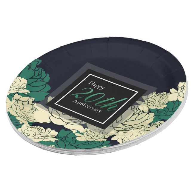 Emerald green 20th anniversary rose print paper plate | Zazzle.com #20thanniversarywedding
