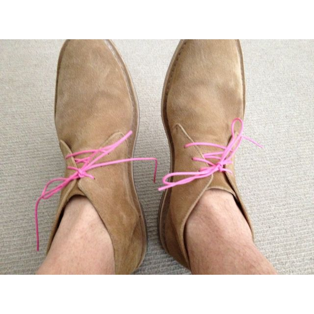 My new pink shoe laces   Gents fashion