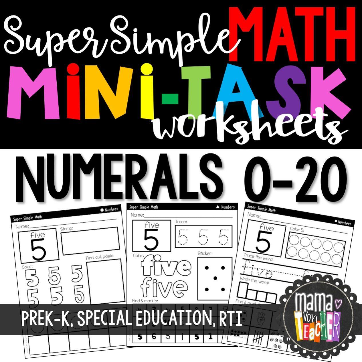 Super Simple Math Number Worksheets Numerals 0 20 No