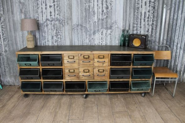 Vintage Style Sideboard With Industrial Style Metal Drawers