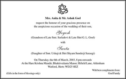 Wedding Invitations Wording Hindu Cards