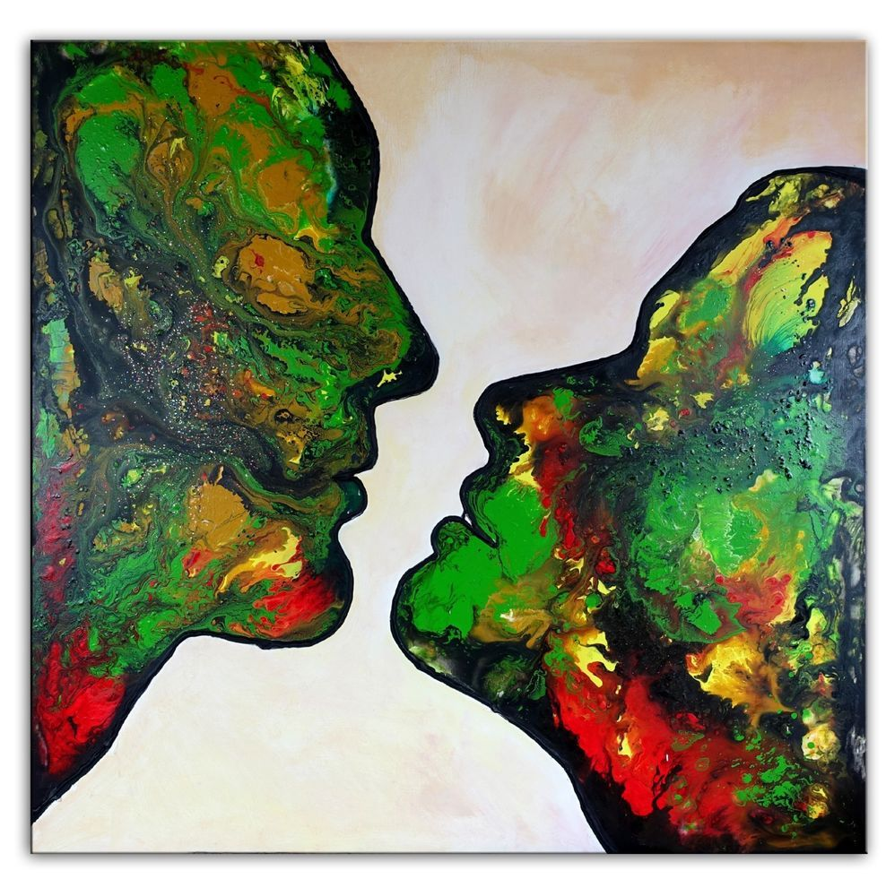 BURGSTALLER Kiss Me 4 Liebespaar Kuss grün abstrakte