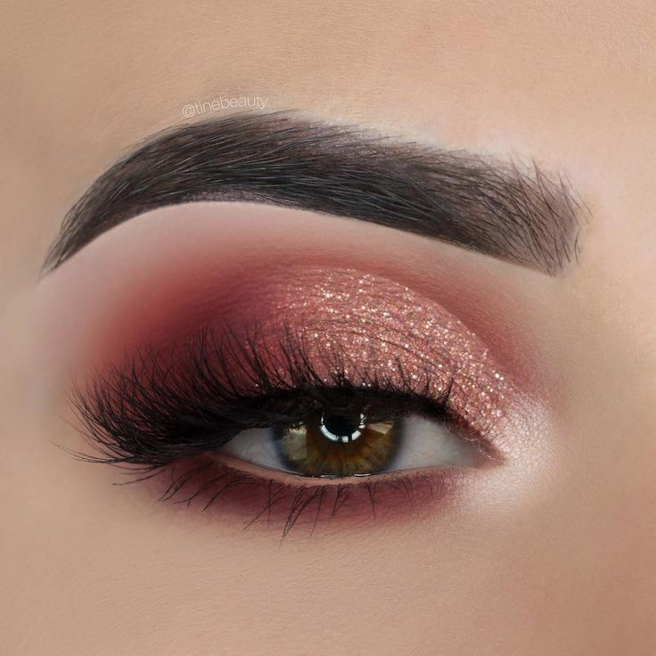 rose gold & burgundy half cut crease smokey eye makeup Tine Beauty