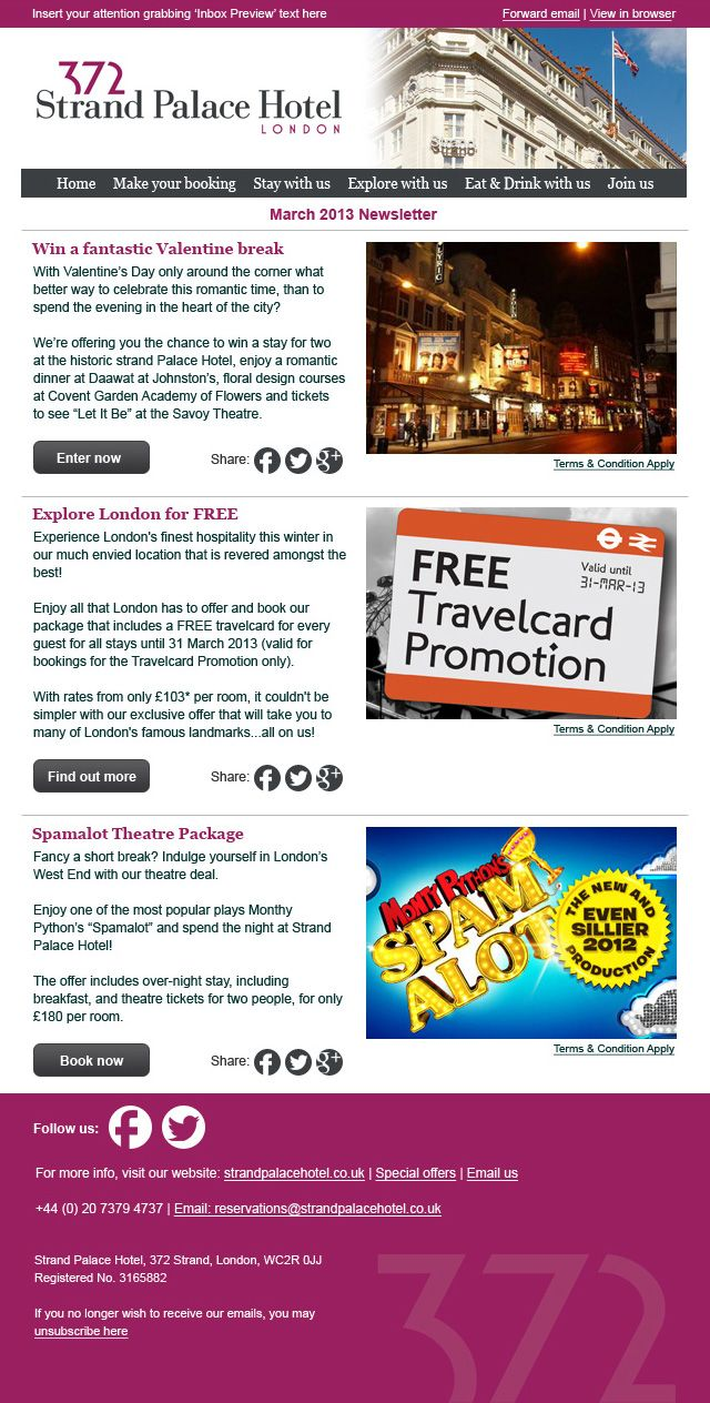 Responsive email template designed and built for Strand Palace ...