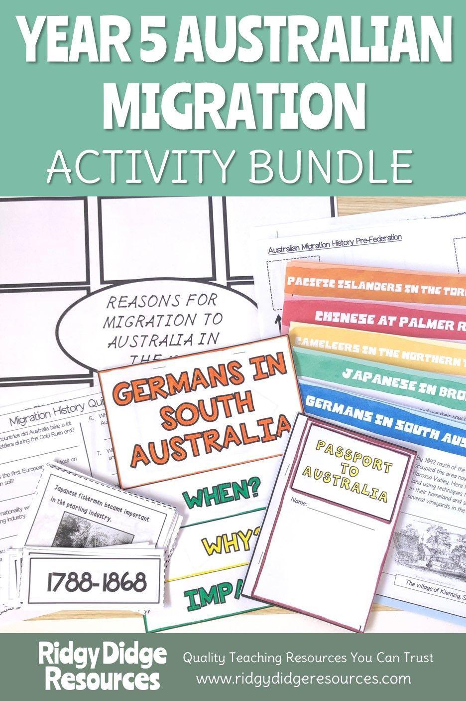 Migration to Australia Year 5 Activity Bundle Teaching