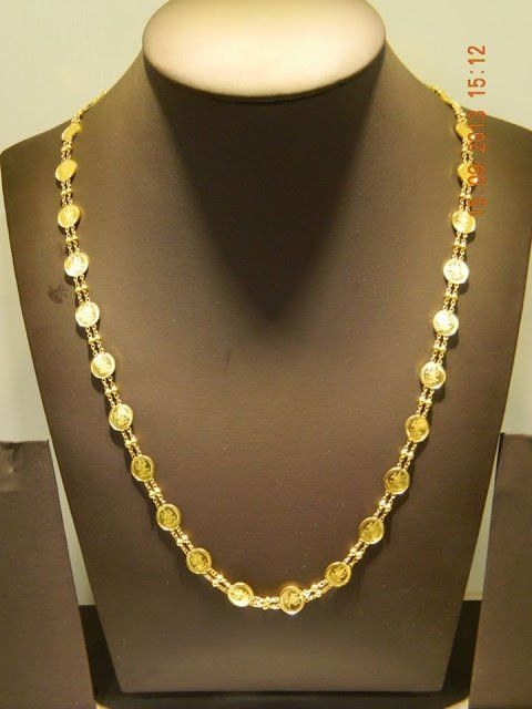 22 Carat Gold Light Weight Long Lakshmi Kasu Chain Weight 10 Grams Gold Chain Design Jewelry Necklace Simple Gold Jewelry Fashion