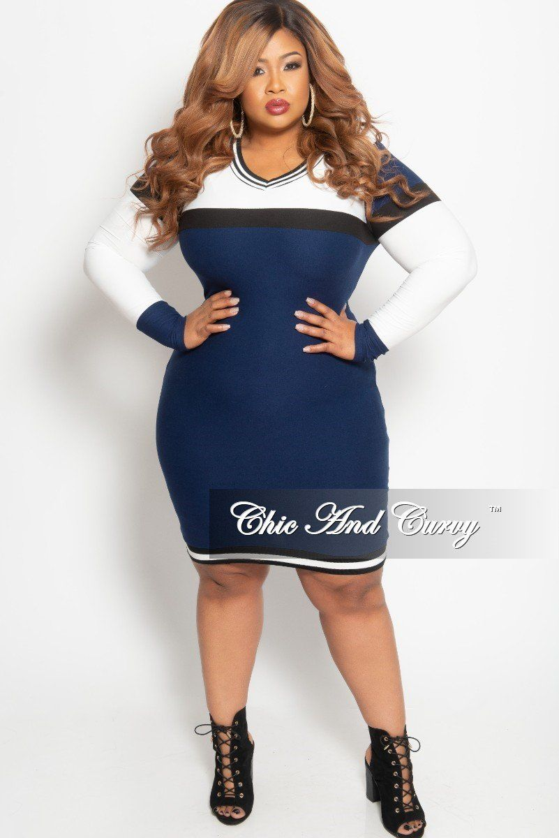 1cf04d2d53b Plus Size Long Sleeve BodyCon Dress in White Navy and Black – Chic And Curvy