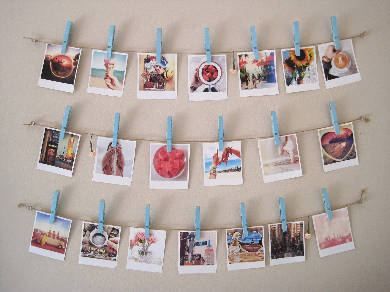 Diy wall string collage makeup by holly mei room decor diy room decor polaroid collage - Porte photo pince ...