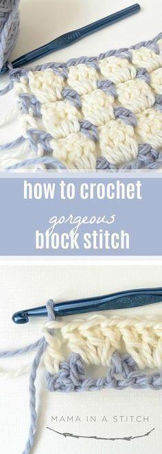 How To Crochet the Block Stitch #crochetstitchestutorial