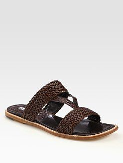 Manolo Blahnik - Woven Leather Slide Sandals