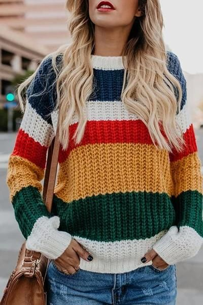 Casual Rainbow Patchwork Pullover Style Commutes Loose Sweater