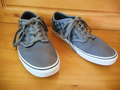 Vans-Atwood-Canvas-Skate-Shoes-Mens-Sz-9-5-Lace-Up-Checkered-Gray-Sneakers