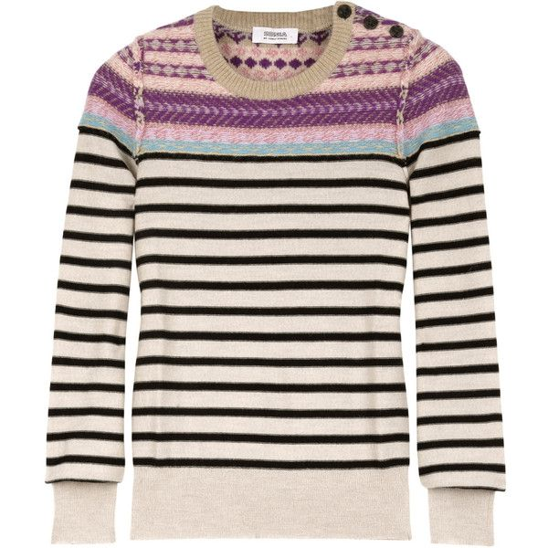 Sonia by Sonia Rykiel Stripey Fair Isle Jumper (3,870 MXN) ❤ liked on Polyvore featuring tops, sweaters, jumpers, women, pink slip, sonia by sonia rykiel sweater, textured sweater, pink sweater and fair isle sweater