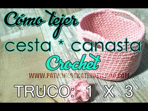Cómo tejer cesta a crochet con el truco 1 x 3 / Tutorial | Crochet y ...
