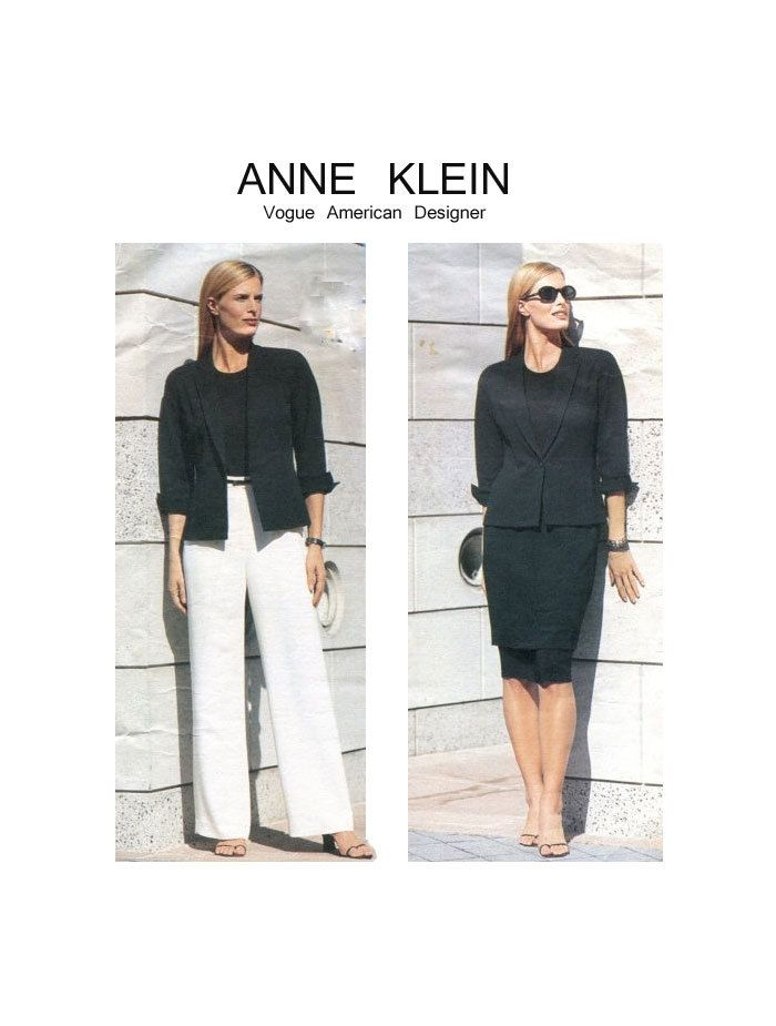 ANNE KLEIN, Designer Suit, VOGUE 2390, Plus Size 18-20-22, Lapel ...