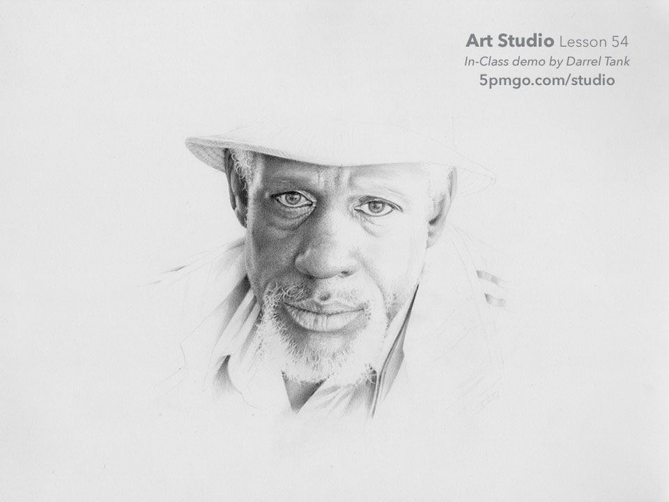 Part xi of a portrait drawn from start to finish by darrel tank for the art studio online classes