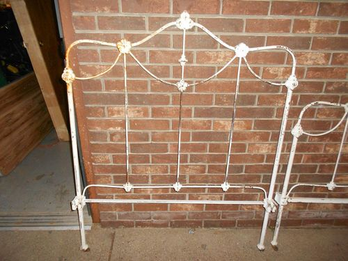 Antique Ornate Cast Iron Bed Headboard Footboard And Rails Twin Size Metal Ebay Kopfteil Bett Kopfteil Gusseisen