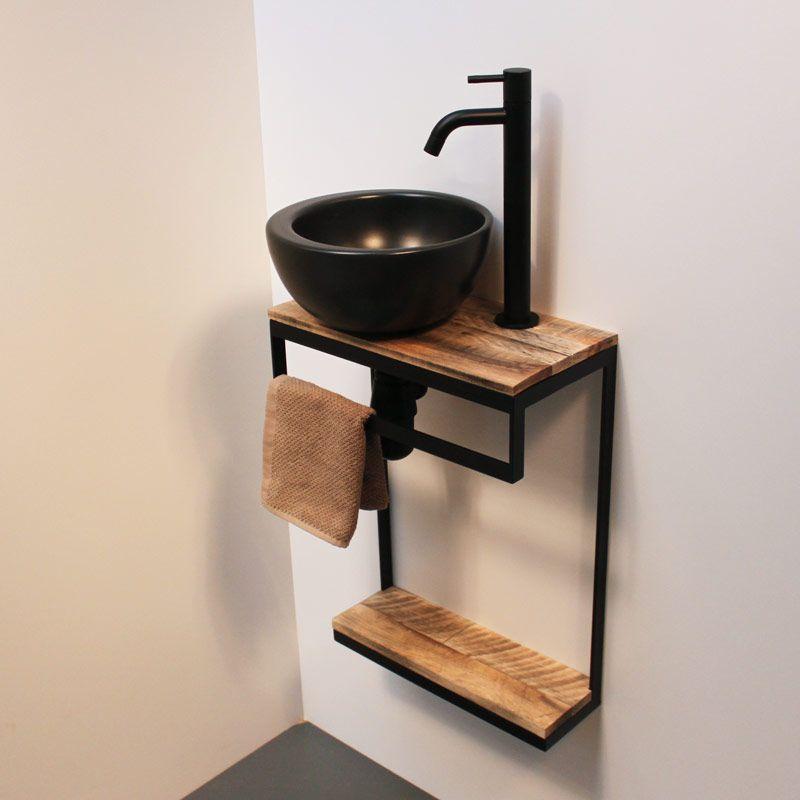 Meuble Lave Mains En Acier Et Vasque Noir Mat Tablettes Au Choix Meuble Lave Main Deco Toilettes Idee Deco Toilettes
