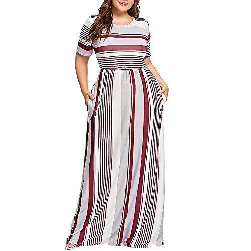 9acdb2d289 Dress for Women Plus Size,Striped Printed Short Sleeve Long Maxi Dress  Evening Party Dress Sundresses Beach Dress