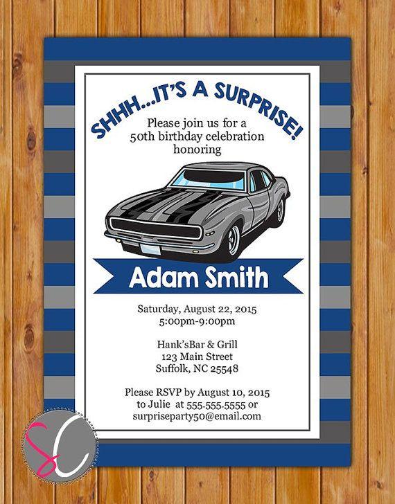 Surprise Classic Car Party Invite Silver Car Masculine Man Navy Grey Stripes Invitation Stripes 40th 50th 60th 5×7 Digital JPG FIle (472)