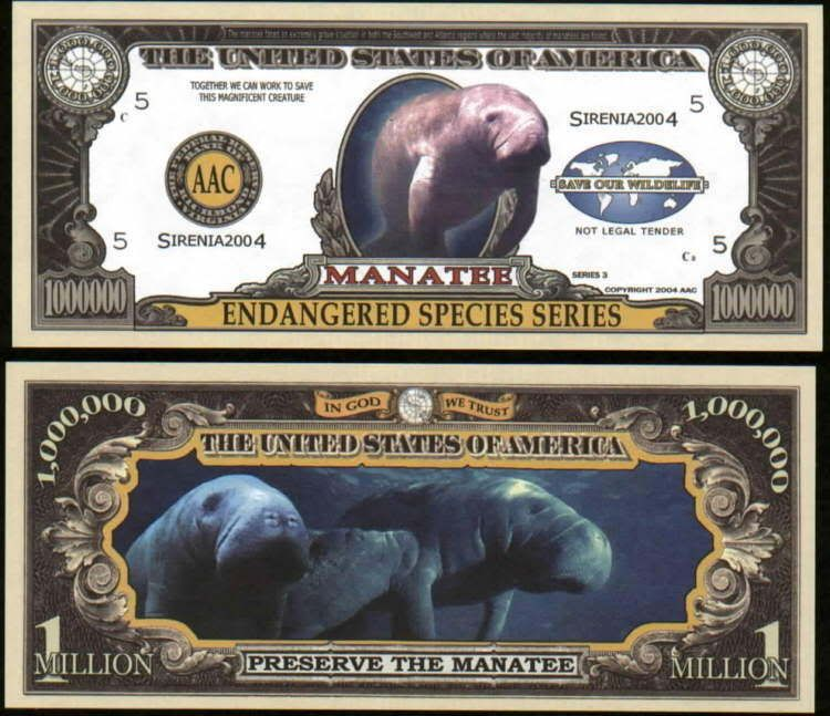 ENDANGERED MANATEE MILLION DOLLAR BILL- Lot of 10 Bills