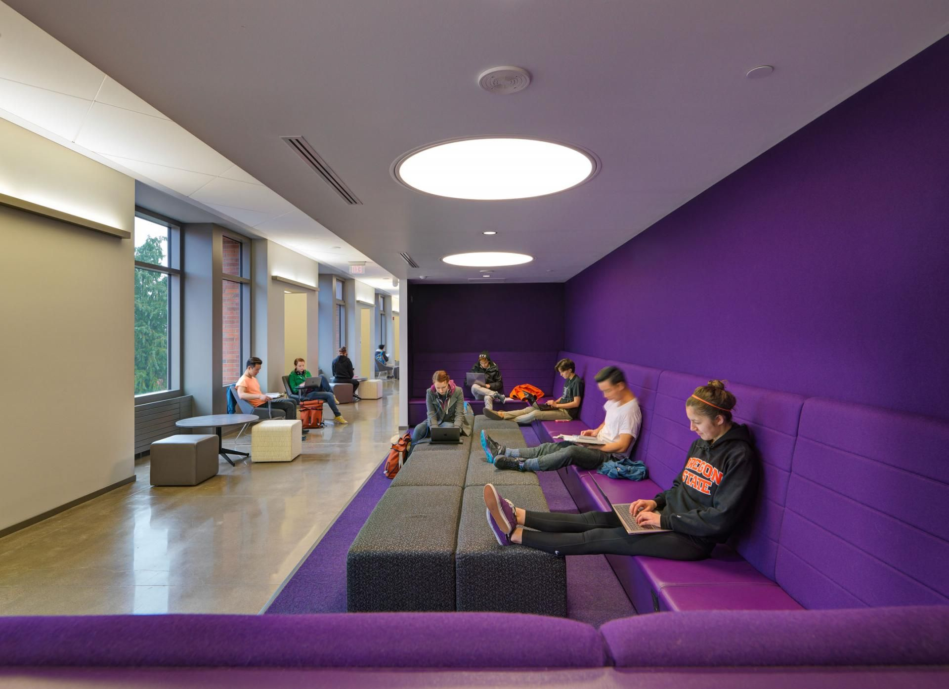 students sitting on comfortable couches while studying Johnson